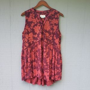 Anthropologie Plus Size Floral Ladder Tank 1X